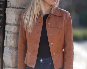 Women's vintage brown real leather jacket