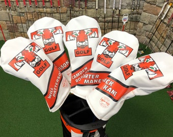 00b07282e80e CUSTOM LEATHER HEADCOVER set of 3 coverswith a Full Color design- HandMade  to order