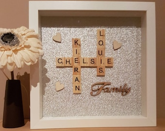 Family scrabble frame, Christmas family gift, personalised Christmas frame, personalised Christmas gift, personalised scrabble frame