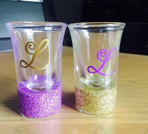 Glitter Shot Glasses Personalised Shot Glasses Hen Party Favours Hen Party Gifts Wedding Favours Wedding Shot Glasses Glitter Glasses