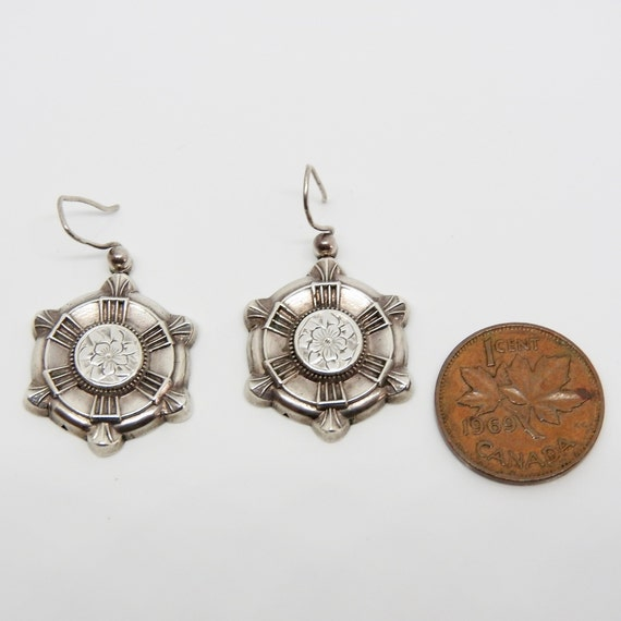 Antique Victorian Silver Hollow Ware Drop Earrings Engraved with a Wild Rose.Circa 1880/'s