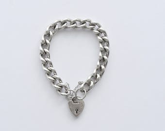 Vintage Silver HEAVY Curb  Chain with Heart Padlock Clasp. Hallmarked London 1975