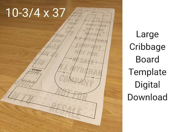 Large Cribbage Board Hole Pattern Paper Template Digital Download 10 3 4 X 37