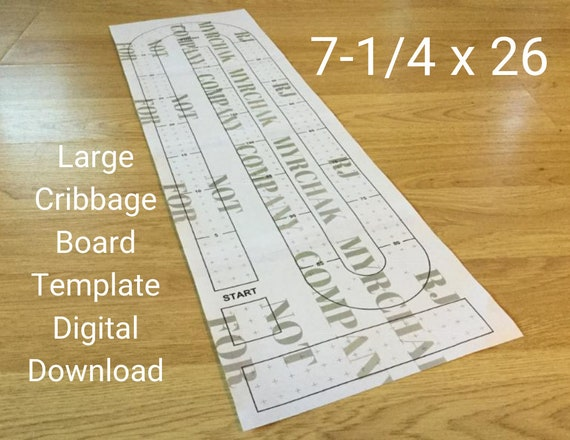 Large Cribbage Board Hole Pattern Paper Template Digital Download 7 1 4 X 26