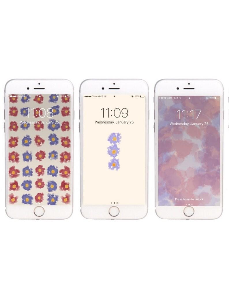 3 Flores Fondos De Pantalla Para Iphone 5 5s 6 Y 6 6s Y 6s Etsy