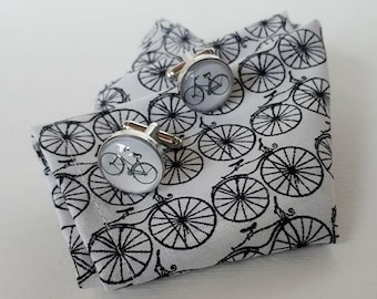 Bicycle Pocket Square cotton fabric, white background black bike, Mens fathers day, Suit, hanky dapper, scottish, hanky handkerchief wedding