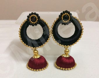 Silk thread earrings - Chandbali earrings