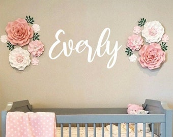 Wood Name Sign, Above Crib Name, Script Wedding Name, Baby Name Sign, Personalized Name Sign, Custom Name Sign, Everly Font