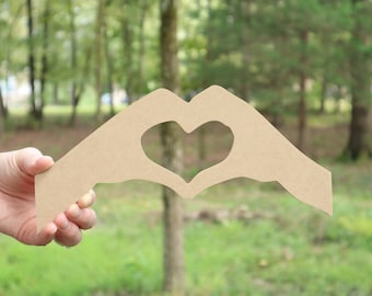 """Heart Hands Unfinished MDF wood cutout - 1/4"""" MDF wood"""