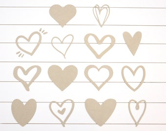 "Wood Heart Cutouts - 14 Cute Heart Designs - 1/4"" thick MDF"