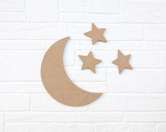 """Crescent Moon and Stars MDF wood cutout - 1/4"""" thick"""