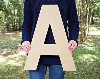 "Wood Letters, Unfinished MDF Letters, 1.5""-20"", Paintable Letters, Nursery Decor, Alphabet Letters, Baby Shower Crafts, Block Font"