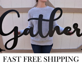 Gather Wood Sign, Word Cutout Gather, Kitchen Decor, Dining Room Decor Sign - Unfinished