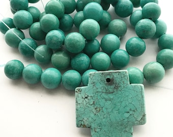 33 Inch Magnesite Bead Strand 12 mm and Magnesite Turquoise Santa Fe Cross, Large Chunky Cross Pendant, Boho Southwest Beads, Bead Destash