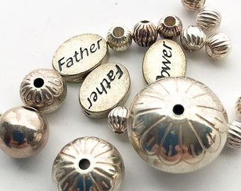 19 Sterling Silver Shape Size Mix Beads, Grooved Patterned Round and Word Beads, Bead Destash, Jewelry Making
