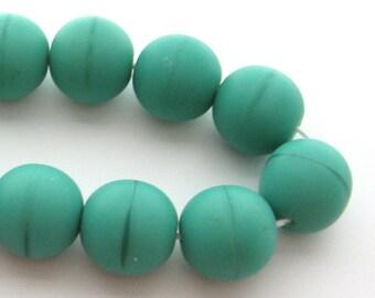 12 Czech Glass Round Turquoise Green Beads, 12 mm, Satin Chalk Coral Finish, Stripe Beads, Matte Chalk Beads, Pastel Beads, Bead Destash