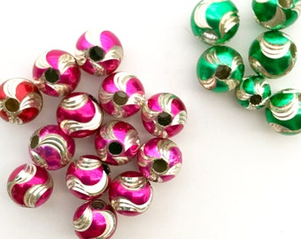 19 Sterling Silver Hollow Laser Cut Colored Round Beads, Size Color Mix, Swirl Color Cut, Kelly Green Red Pink Fuchsia Magenta, Bead Destash