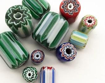 11 Glass Stripe Chevron Lampwork Beads, Size Color Mix, Green White Red Blue, Fat Tube Barrel Beads, Tribal Hippie Beads, Bead Destash