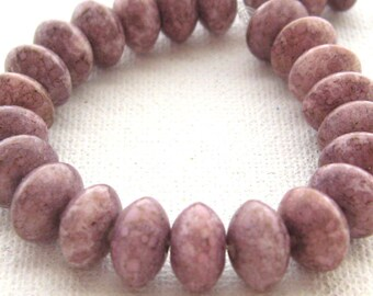 17 Czech Glass Mauve Lavender Gold Dusted Rondell Beads, 9 mm, Mottled Gray Pink Squat Round Bead, Jewelry Making, Bead Destash