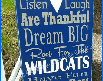 In this house we cheer-root for verse hand painted wooden wall decor, Perfect basketball or football fans, Kentucky wildcats, UK gift ideas