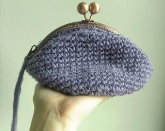 Handmade crochet makeup bag/ pouch / bag / clutch in Lavender colour