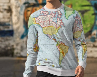 World Map Sweater.World Map Hoodie Etsy