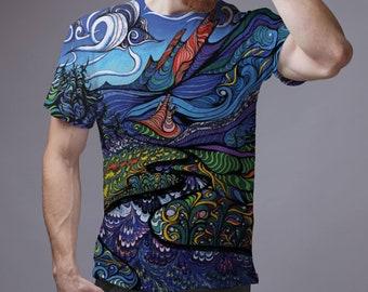 914ad759de Psychedelic Shirt Abstract Clothing LSD Shirt Hippie Shirt LSD Shirt Street  Wear Men's Shirt Cool Shirt 90s Clothing Cute Shirt Tee GO1014
