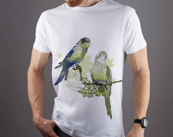 BUDGIES IN LOVE 100/% COTTON CUTE VINTAGE STYLE BIRDS WOMENS  TSHIRTS T-SHIRT TOP