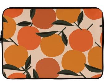 Orange Citrus Leaves 13 Inch Laptop MacBook Case Laptop Sleeve Fruit Pattern 15 Inch Laptop Tech Accessories Floral MacBook Case