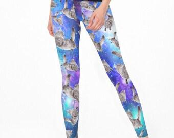 f76610774ee76 Space Flying Cat Leggings Galaxy Pants For Gym Leggings For Cat Lover  Purple Universe Comfort Wear Funny Christmas Leggings Kitten GO1365
