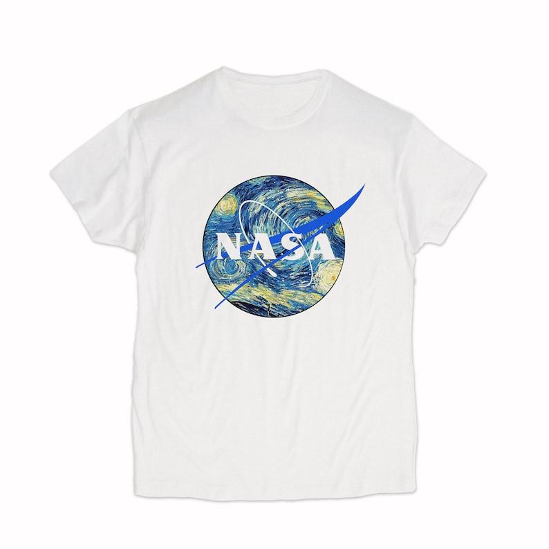Nasa Shirt Van Gogh Starry Night T-shirt Graphic Tee Nasa Custom Logo Shirt Space Astronaut Geek Nerd Tee For Men /& Women Clothing GO1350
