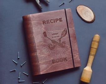 wooden recipe book etsy