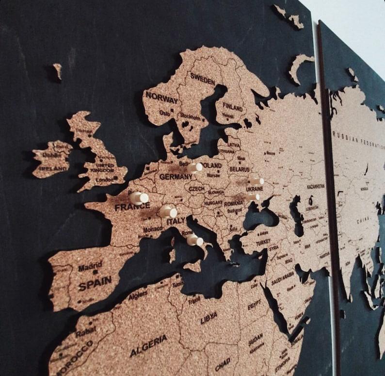 Wall World Map Push Pin Wood Cork Map Personalized Travel image 0