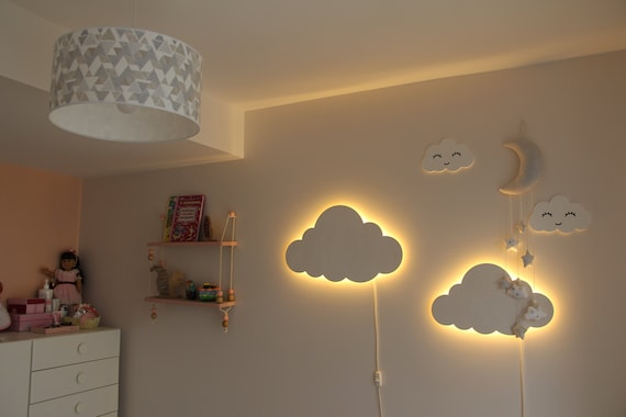 Cloud Night Light Wood Kids Lamp Baby Room Led Lamp Nursery | Etsy