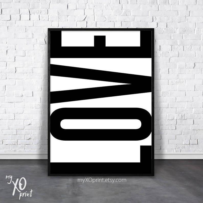 Dekoracje ścienne Sypialnia Miłość Drukuj Czarno Biała Miłość Do Druku Miłość Sztuka Wall Art Inspirujące Cytaty Druk Typografia Sztuka Prezent