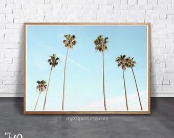 Palm Tree Print, Modern Wall Decor, Tropical Wall Art, Beach Wall Art, California Art, Large Poster, Printable Art, Palm Leaf Art, Blue Sky