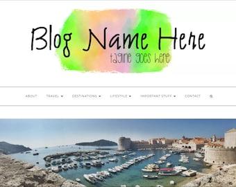 Colourful pre-made rainbow watercolour smudge blog/website header/logo