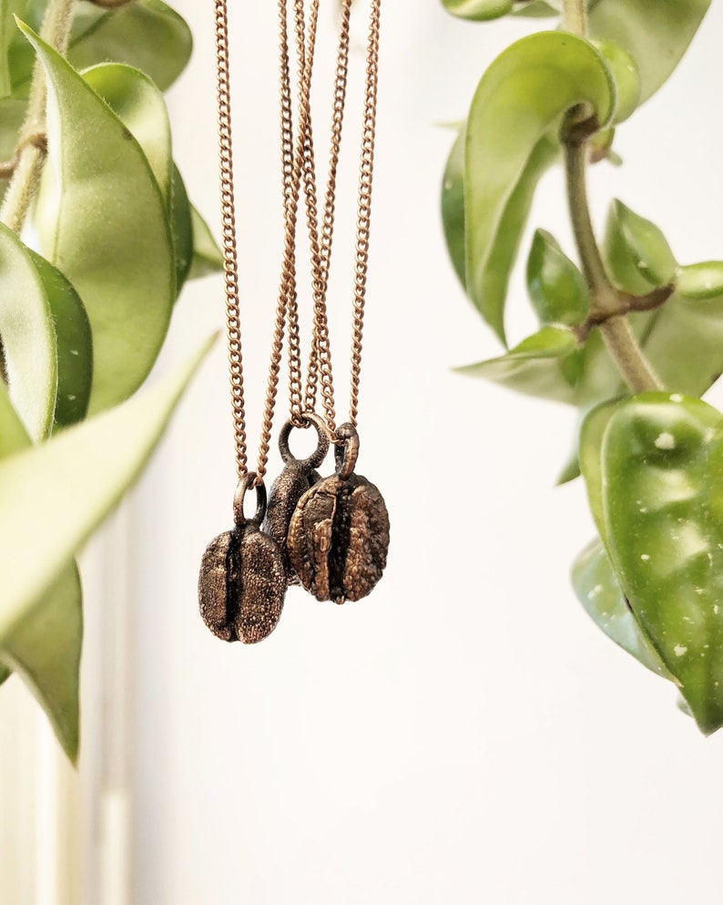 Real Coffee Bean Necklace Copper Chain Choker Patina Electroformed Dainty Coffee Lover Unusual Alternative Charm