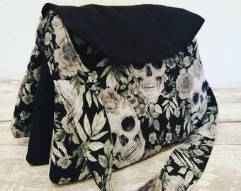 Skull bag, shoulder bag, gothic bag, skull gift, ladies shoulder bag, skull handbag, multi pocket bag, three pocket bag, black handbag