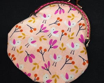Coin purse, clasp purse, ladies clasp purse, bird print purse, kiss clasp purse, change purse, metal clasp purse, snap frame purse
