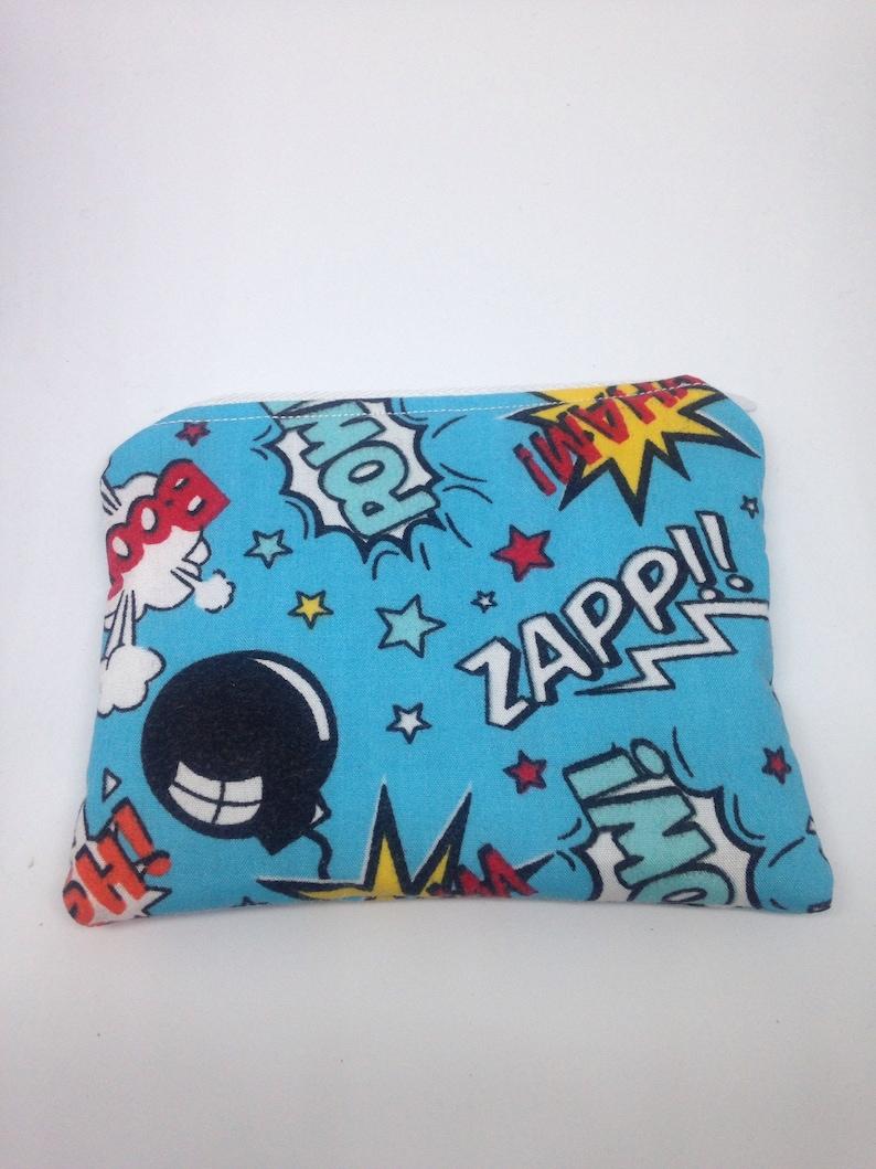boys purse comic purse blue purse coin purse zipped purse zip pouch zip purse kids purse change purse Childrens purse