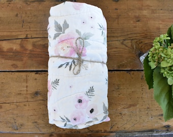 Floral baby girl whole cloth quilt | damask | pink | gray