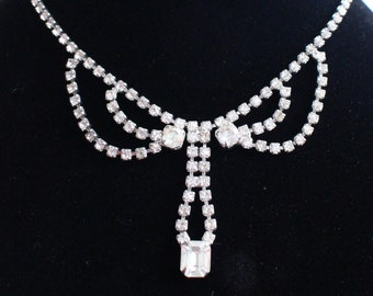 SO #1023 Vintage Silver Tone Rhinestone Necklace with Center Emerald Cut Crystal