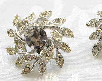 BNE # 163 Vintage Signed Sarah Coventry Silver Tone Leaf Spray with Clear and Smoky Crystal Rhinestones