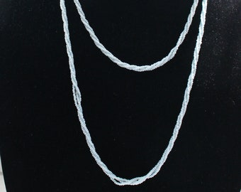 UNN # 67 Very Long Vintage Seed Bead Necklace in Baby Blue