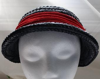 87c3ad4e Vintage Dark Navy Raffia Straw Hat with Red Band