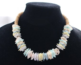 NMN # 6 Wooden Bead and Dyed Shell Necklace in Pastel Colors of Pink, Yellow, Purple, Green, White and Blue