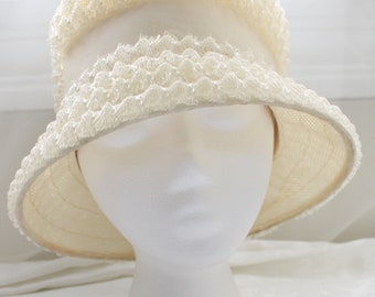 c0b5a9a100d Vintage Ivory White Raffia Straw Woven Bucket Hat with Ribbon and Bow  Detailing