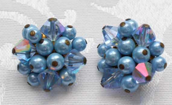 CE # 152 Vintage Light Blue Pearl Like and Cut Glass Aurora Borealis Bead  Cluster Earrings Marked Japan