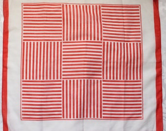 Vintage Square Made in Japan Scarf with Red and White Mod Stripe Pattern